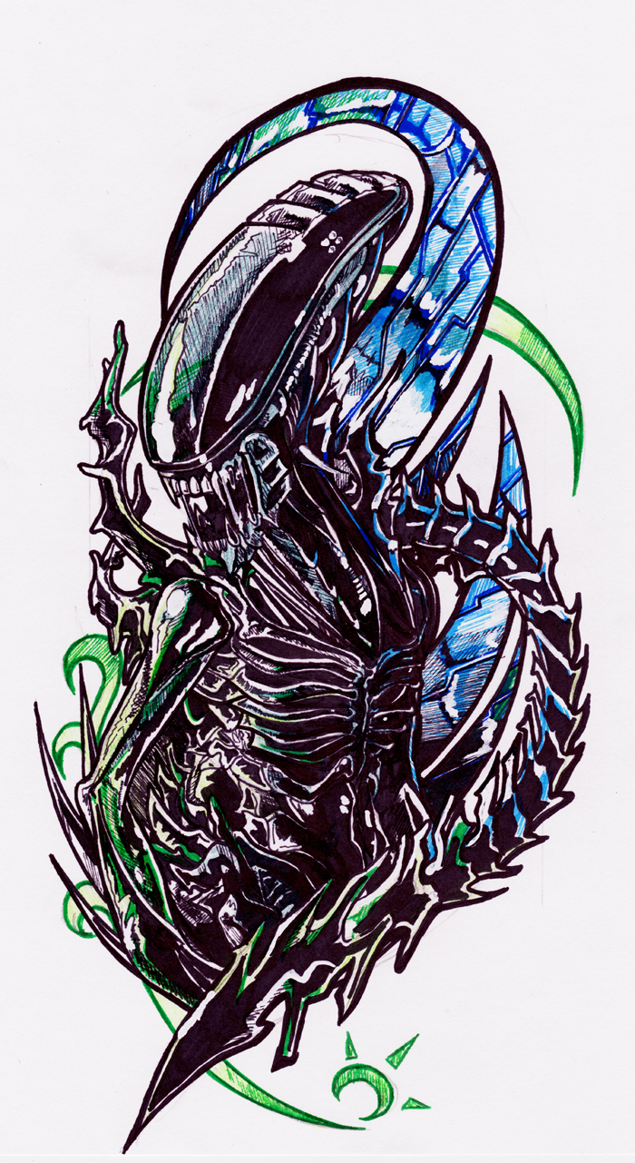 Color Ink Alien Tattoo Design Ideas And Designs