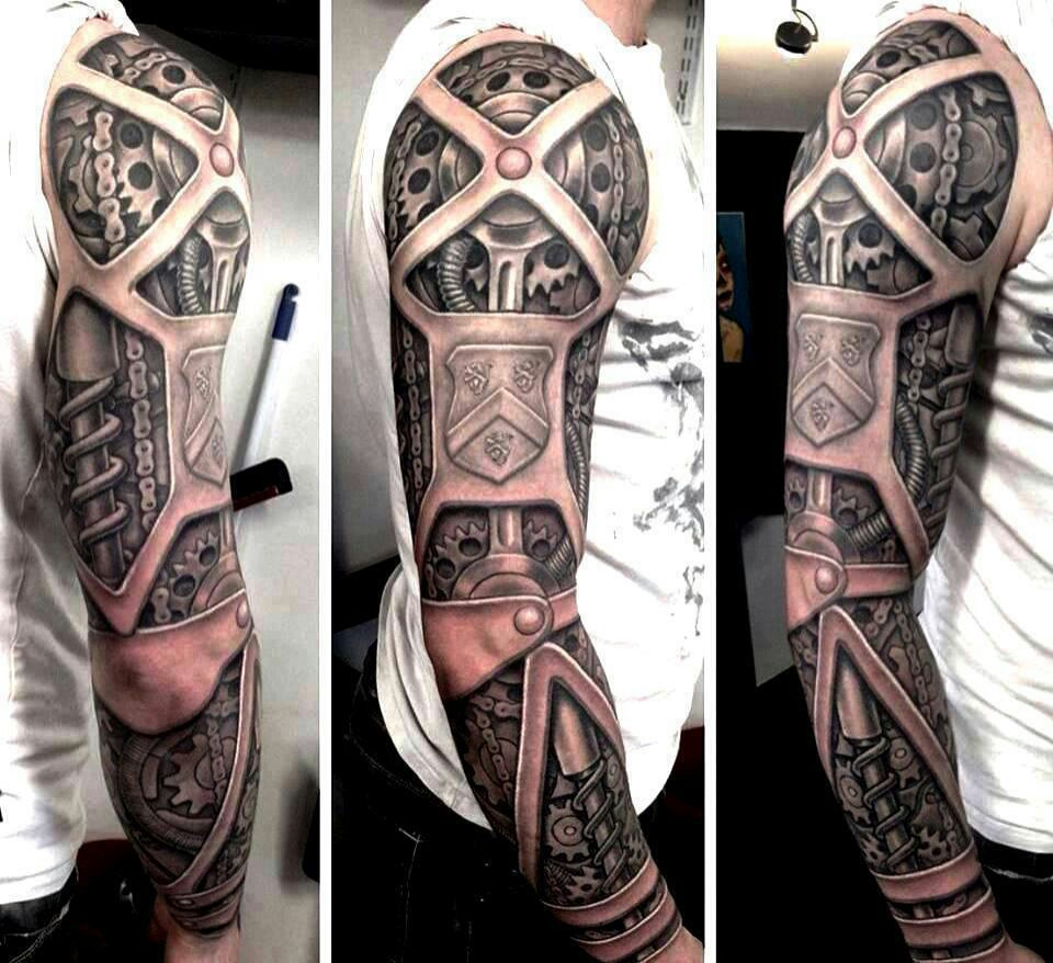 Awesome Biomechanical 3D Tattoo On Sleeve Ideas And Designs