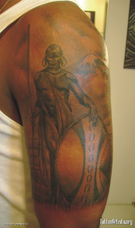 Attractive African Warrior Tattoo On Left Half Sleeve Ideas And Designs