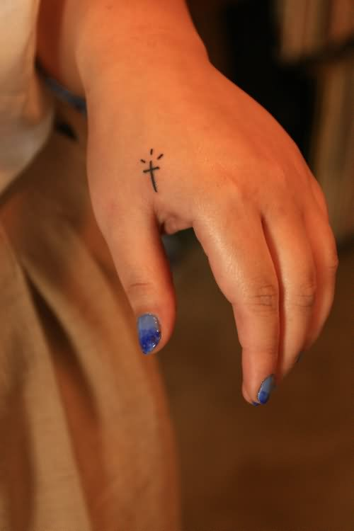 Showing Small Cute Cross Tattoo Ideas And Designs