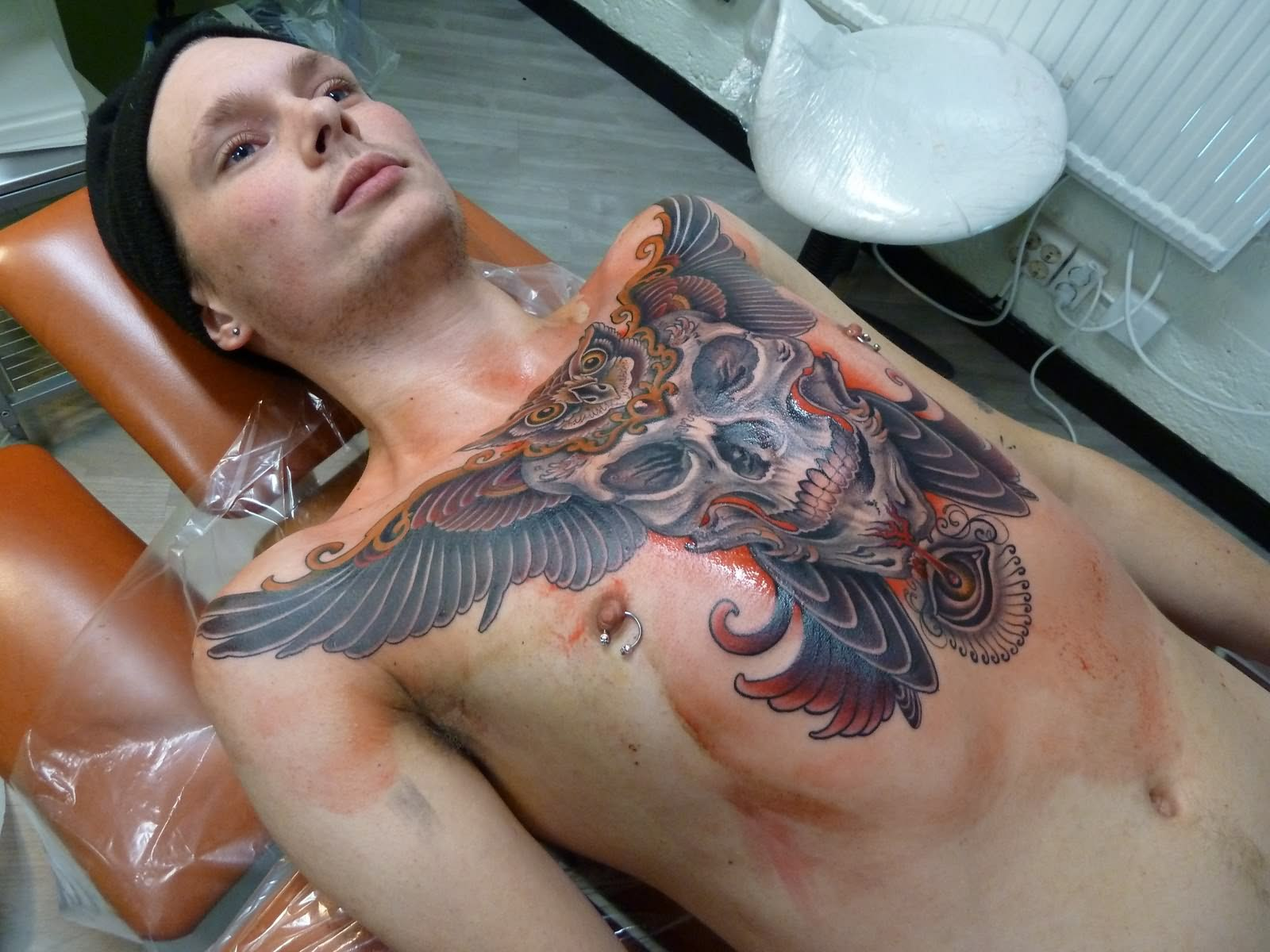 Big Skull Tattoo On Chest Ideas And Designs