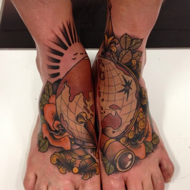 Globe Tattoo Is Not A Simple Map Best Tattoo Ideas Gallery Ideas And Designs