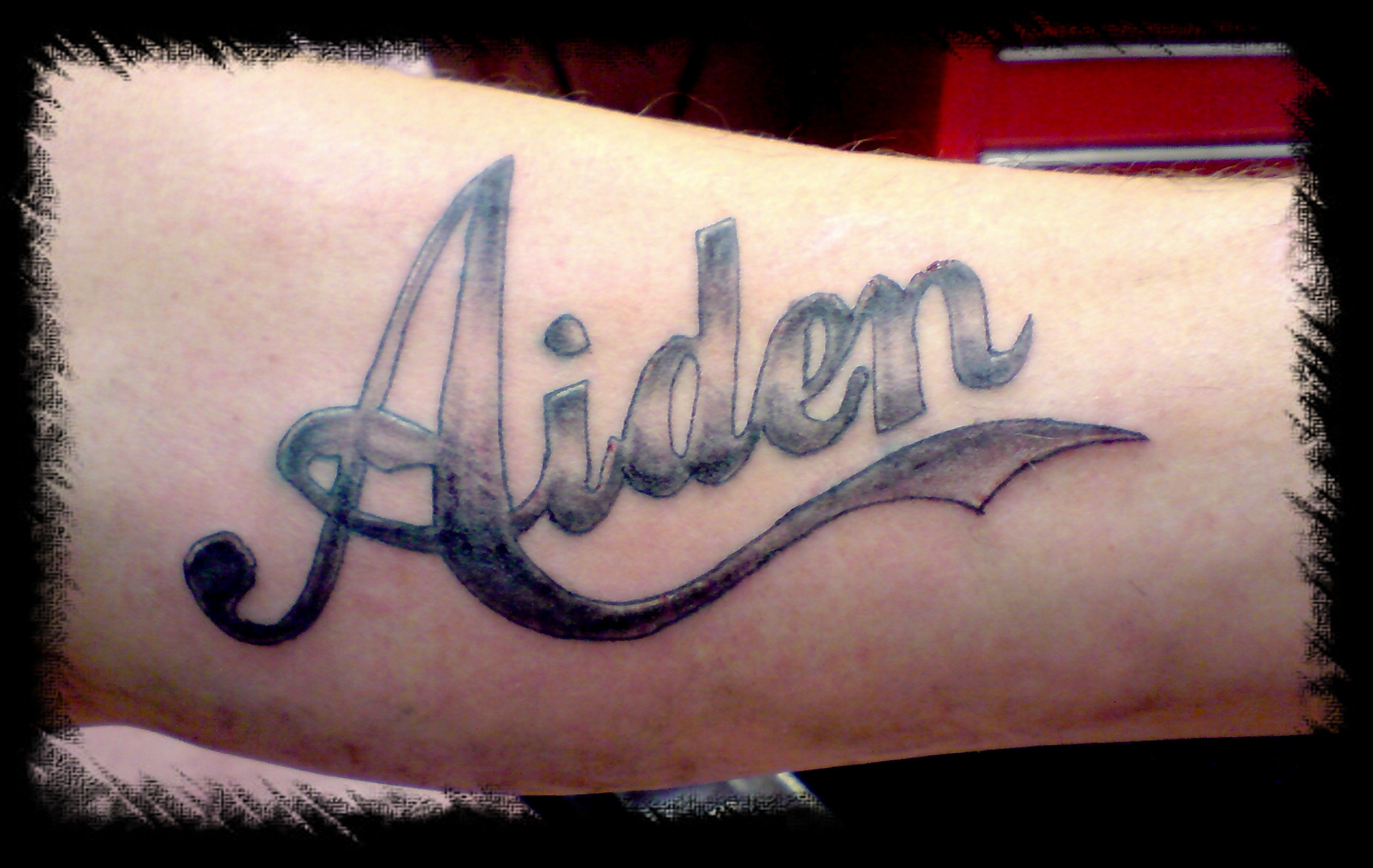 Aiden Lettering Tattoo Picture Ideas And Designs