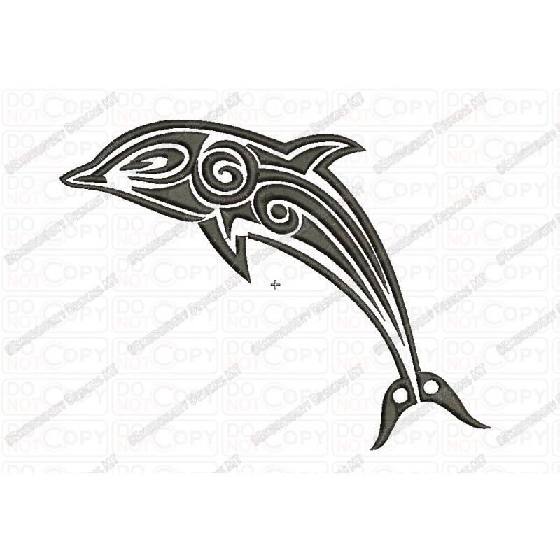 Dolphin Tribal Tattoo Fill Stitch Embroidery Design In 3X3 Ideas And Designs