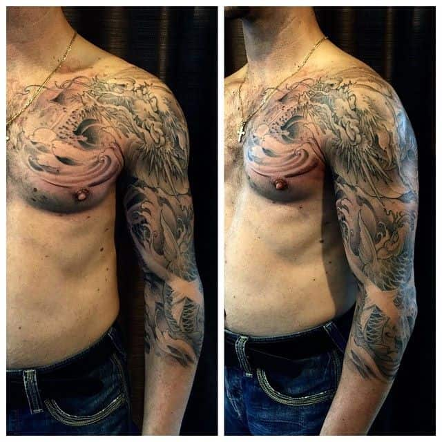 Chest To 3 4 Sleeve Dragon And Koi Fish Tattoo Chronic Ink Ideas And Designs