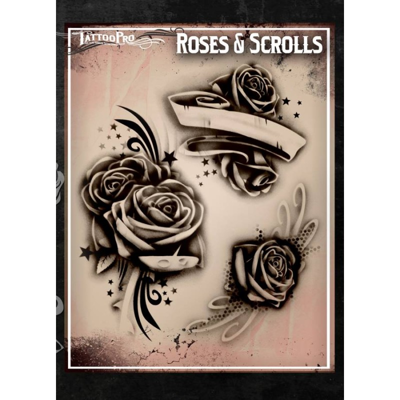 Airbrush Tattoo Pro Stencil Rose S And Scrolls Ideas And Designs