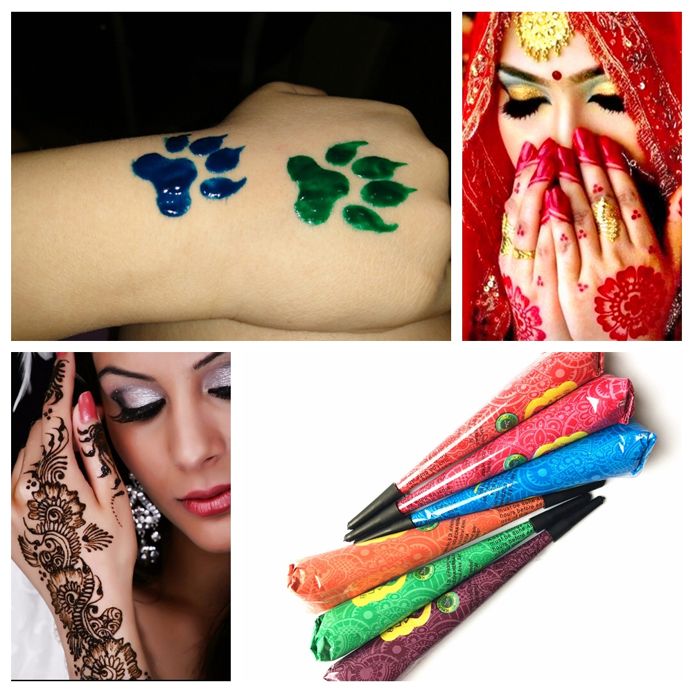 9 Color Choose Indian Henna Tattoo Paste Women Makeup Ideas And Designs