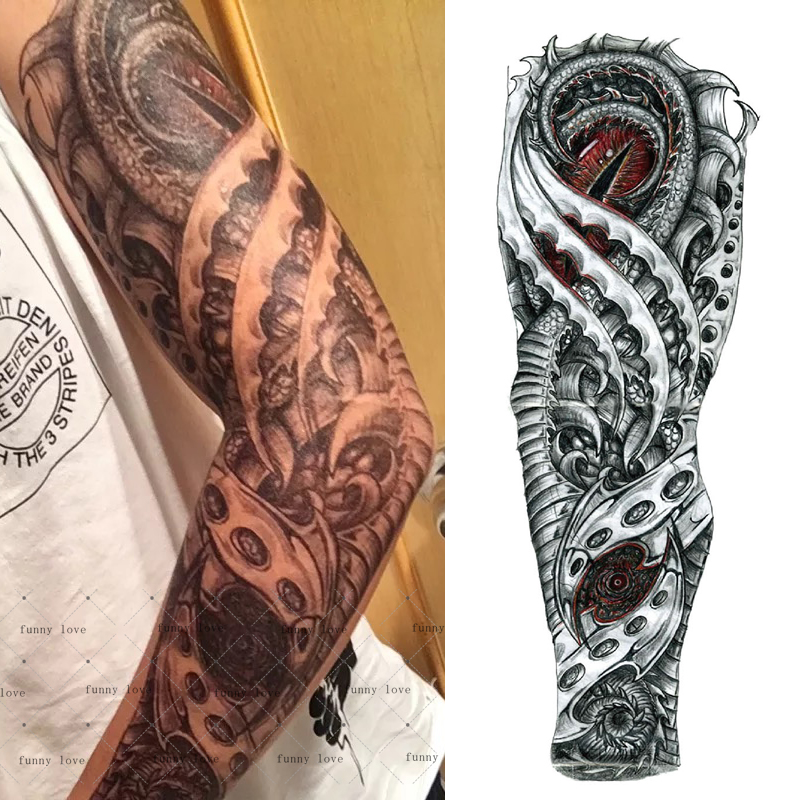 Full Arm Temporary Tattoo Waterproof Cool Grey Black Ideas And Designs