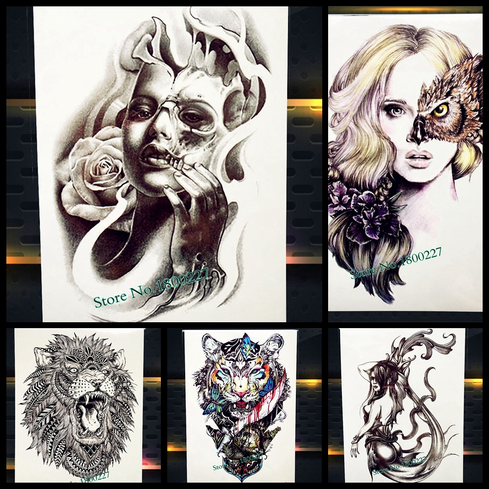 3D Black S*Xy Women With Rose Flower Mask Temporary Tattoo Ideas And Designs
