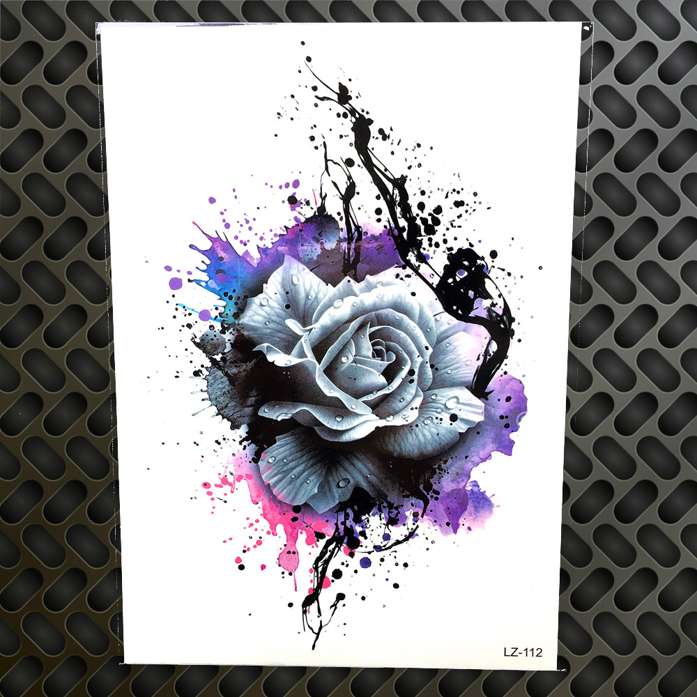 3D Watercolor Purple Rose Henna Temporary Tattoo Stickers Ideas And Designs