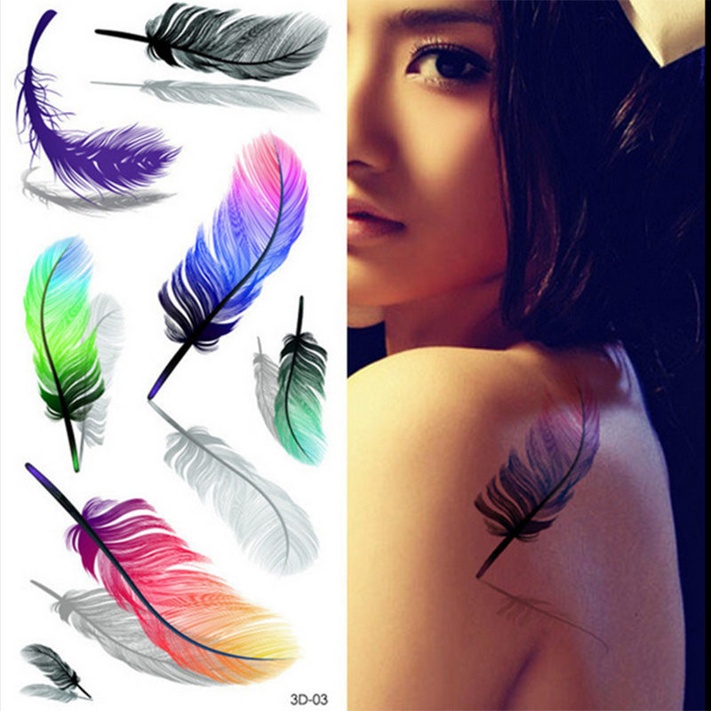 3D Pretty Temporary Tattoo Colorful Feathers Fake Tattoo Ideas And Designs