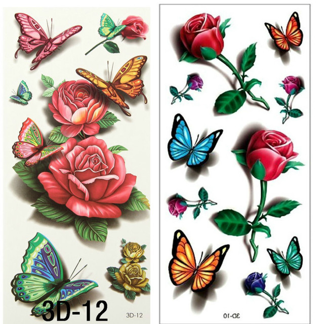 Aliexpress Com Buy 2Pcs 3D Rose Tattoo Body Art Chest Ideas And Designs