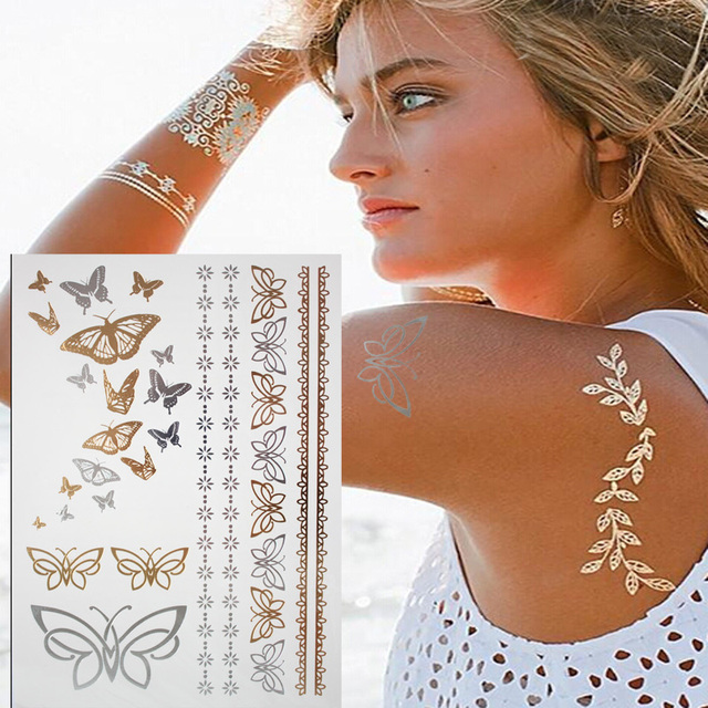 Gold Silver Butterfly Temporary Tattoo Body Art Sleeve Arm Ideas And Designs