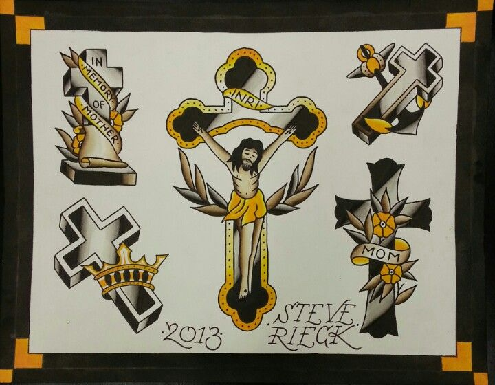 Traditional Cross Tattoo Flash By Steve Rieck At Downtown Ideas And Designs