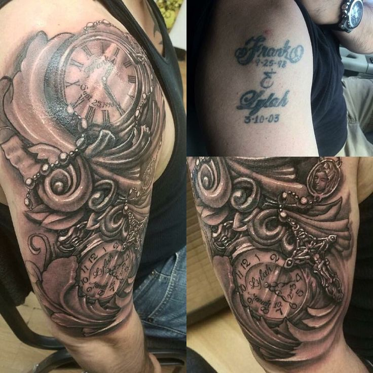 36 Best Clock Quarter Sleeve Tattoos Images On Pinterest Ideas And Designs