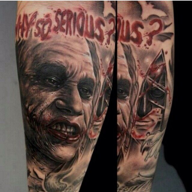 Why So Serious Joker Tattoo Via Fred Tattoo Instagram Ideas And Designs