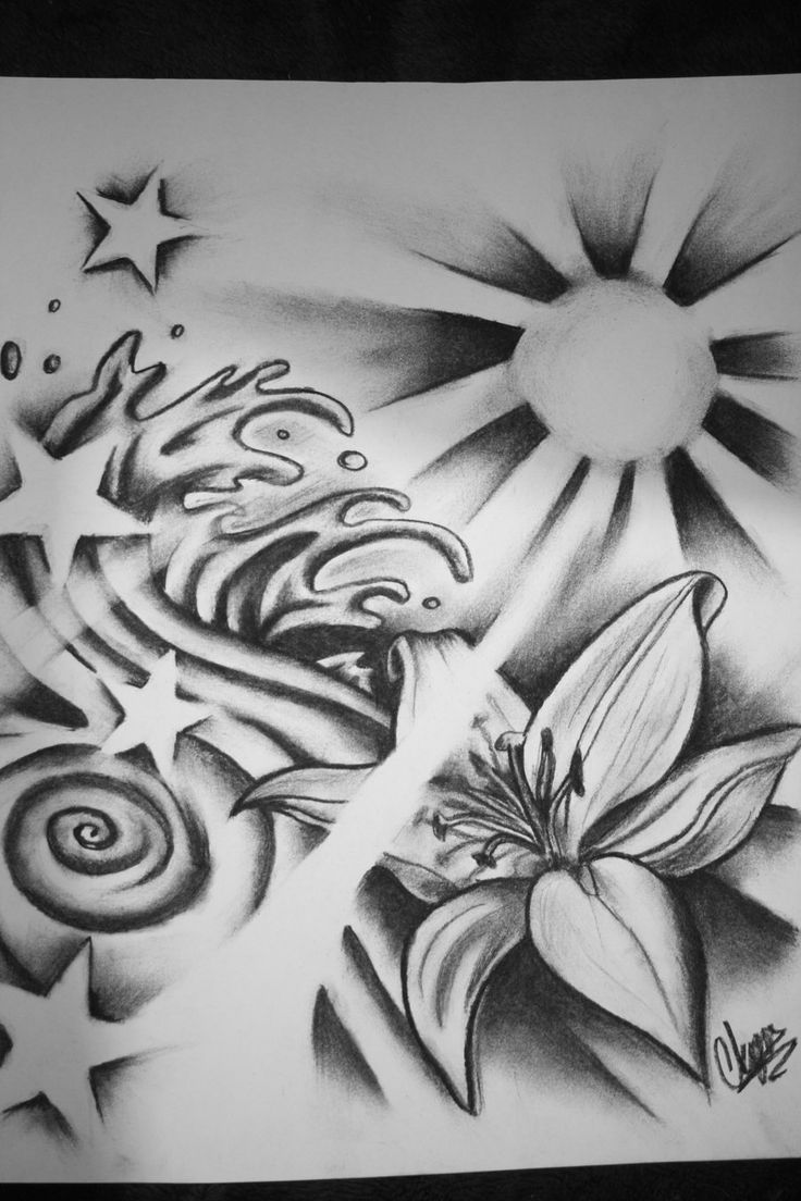 Tribal Flower Waves Art Tattoo Designs Sun Tattoos Ideas And Designs