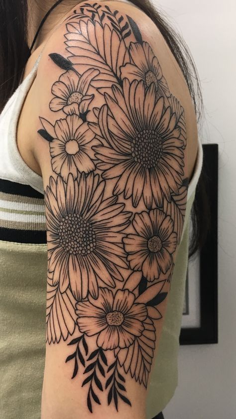 Number 4 Half Sleeve Wildflower Tattoo Took About 3 1 2 Ideas And Designs