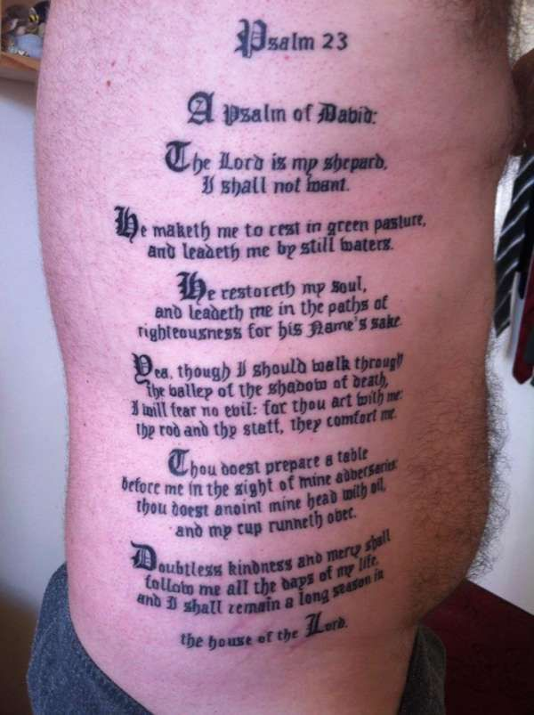 Best 25 Psalm 23 Tattoo Ideas On Pinterest Psalm 23 4 Ideas And Designs