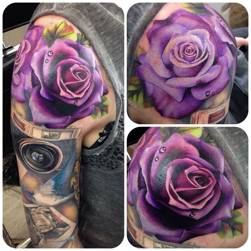 Stunning Purple Rose Tattoo Tattoo Ideas Purple Rose Ideas And Designs