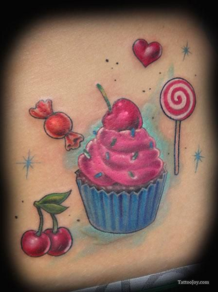 Cupcake Tattoos Cupcake Cherries And Lollipop Tattoo Ideas And Designs