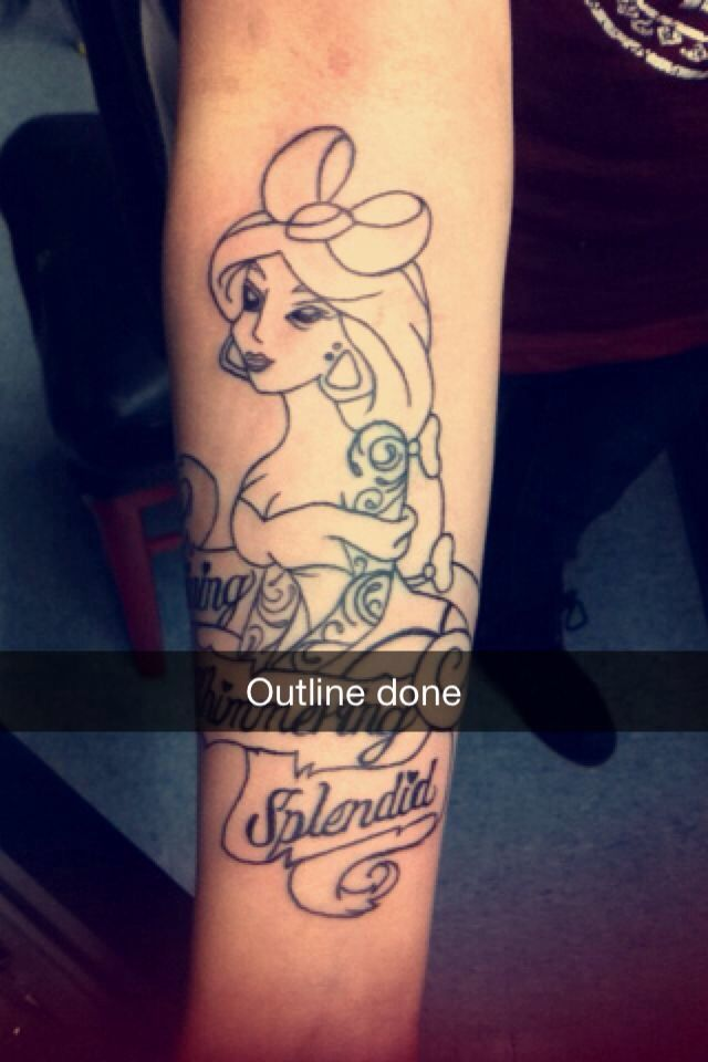 Aladdin Tattoo Princess Jasmine Outline Done By Amber At Ideas And Designs
