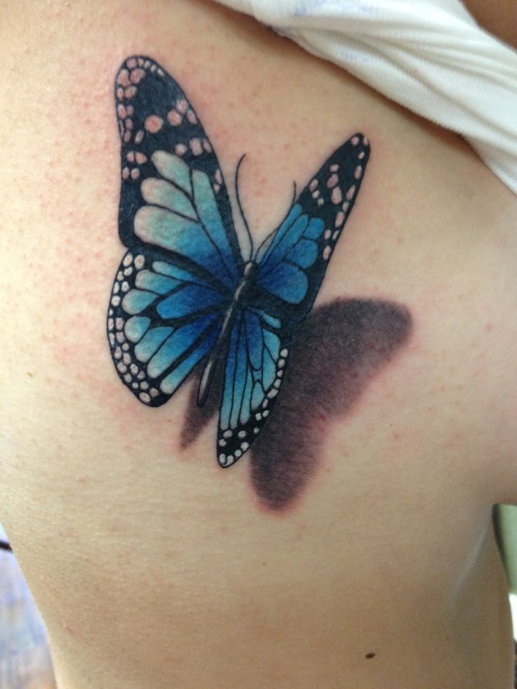 3D Flying Blue Butterfly Tattoo On Siderib Tattoos Ideas And Designs