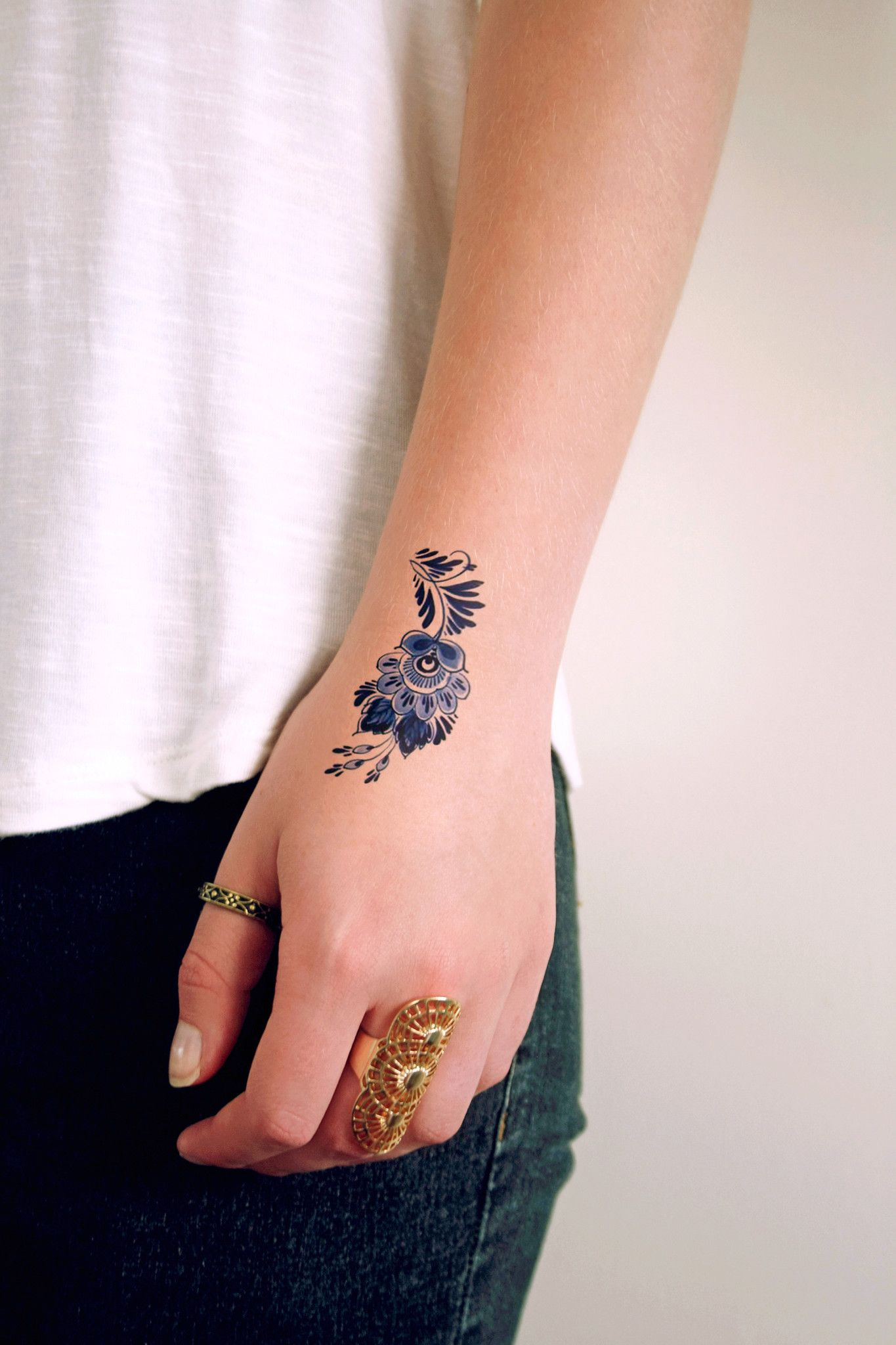Small Delft Blue Floral Tattoo Tattoos Blue Flower Ideas And Designs