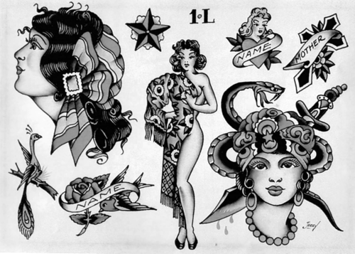 1940'S Tattoo Sheet S K I N A R T Sailor Jerry Ideas And Designs