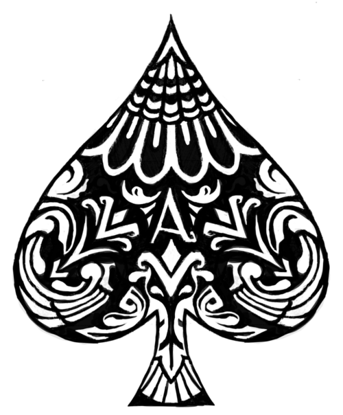 Black And White Symmetrical Ace Of Spades Ink And Ideas And Designs