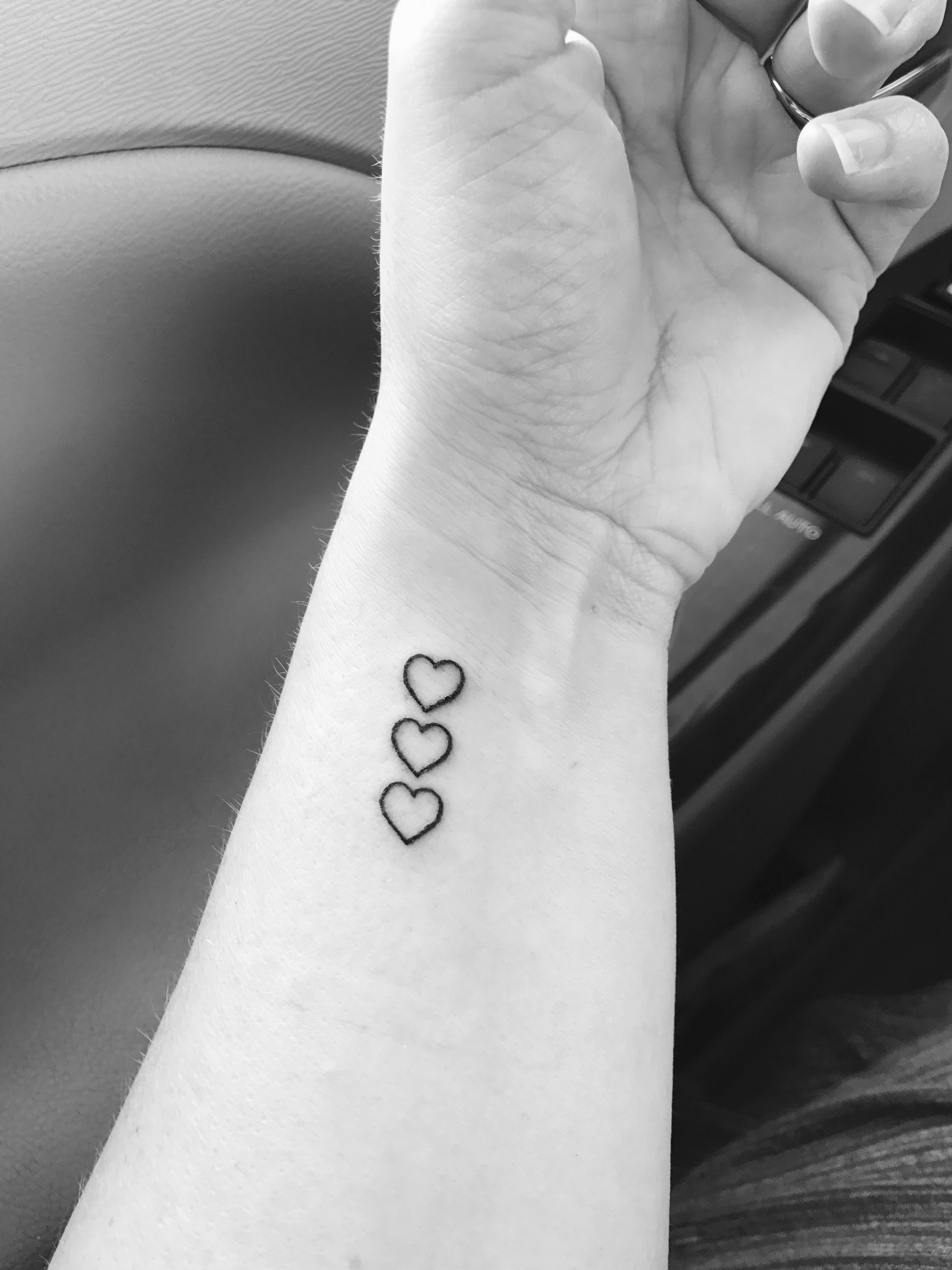 Finally Got My Tattoo Three Hearts To Represent My Kids Ideas And Designs