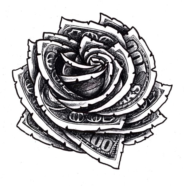 Hundred Dollar Bill Rose Floral Tattoo Design … Tattoo Ideas And Designs