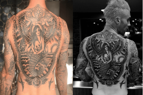 Adam Levine Shares Photo After Completed His Back Tattoo Ideas And Designs