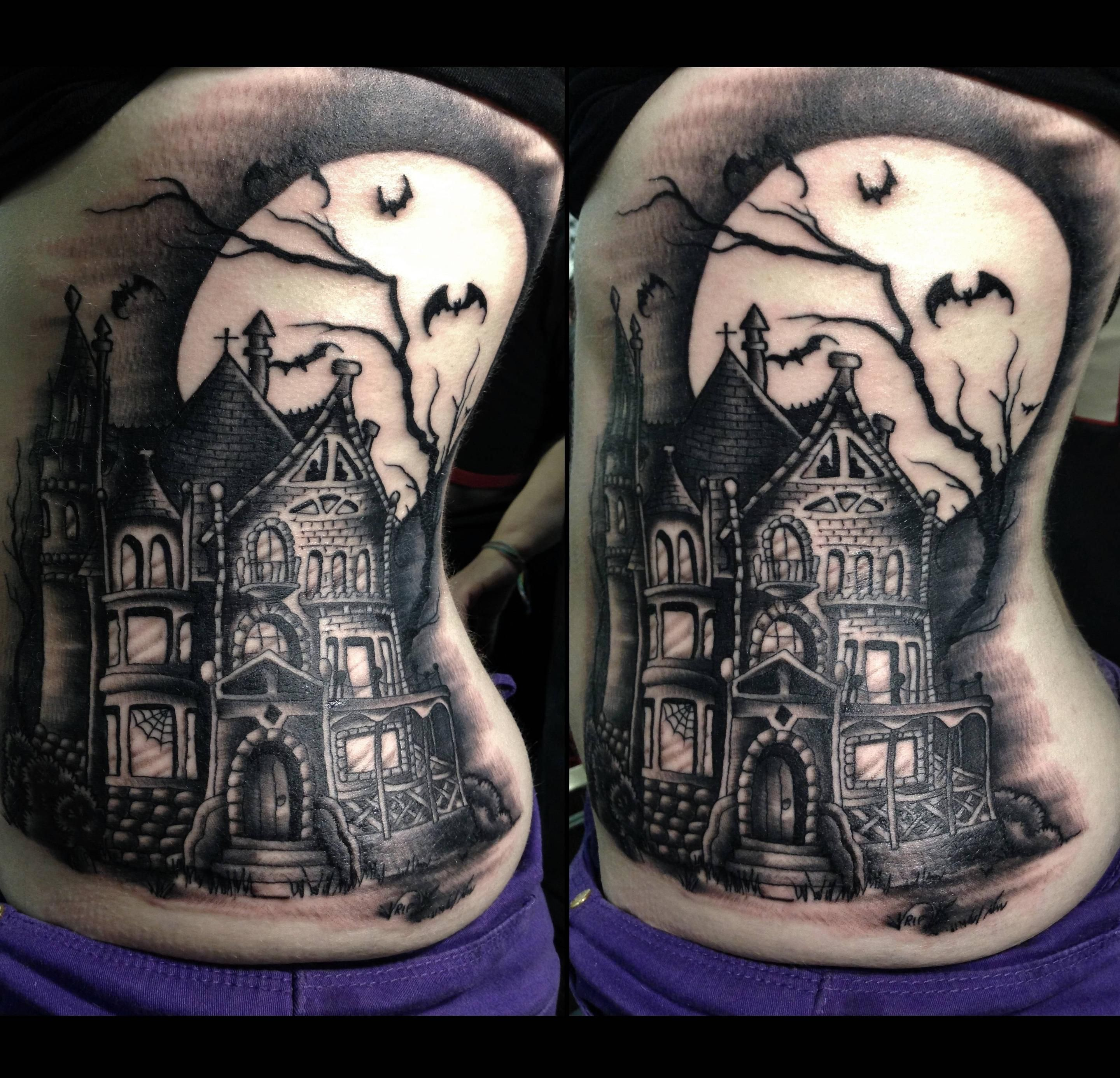 14 Creepy Cool Haunted House Tattoos Inkedd Tattoo Ideas And Designs