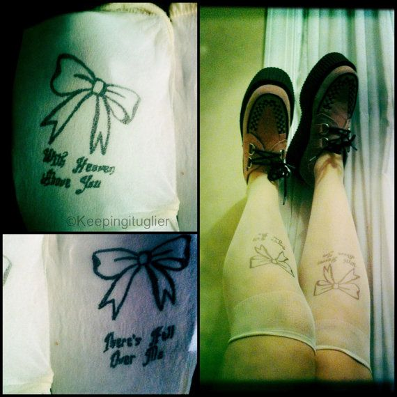 Pierce The Veil H*Ll Above Knee High Tattoo Tights On Ideas And Designs