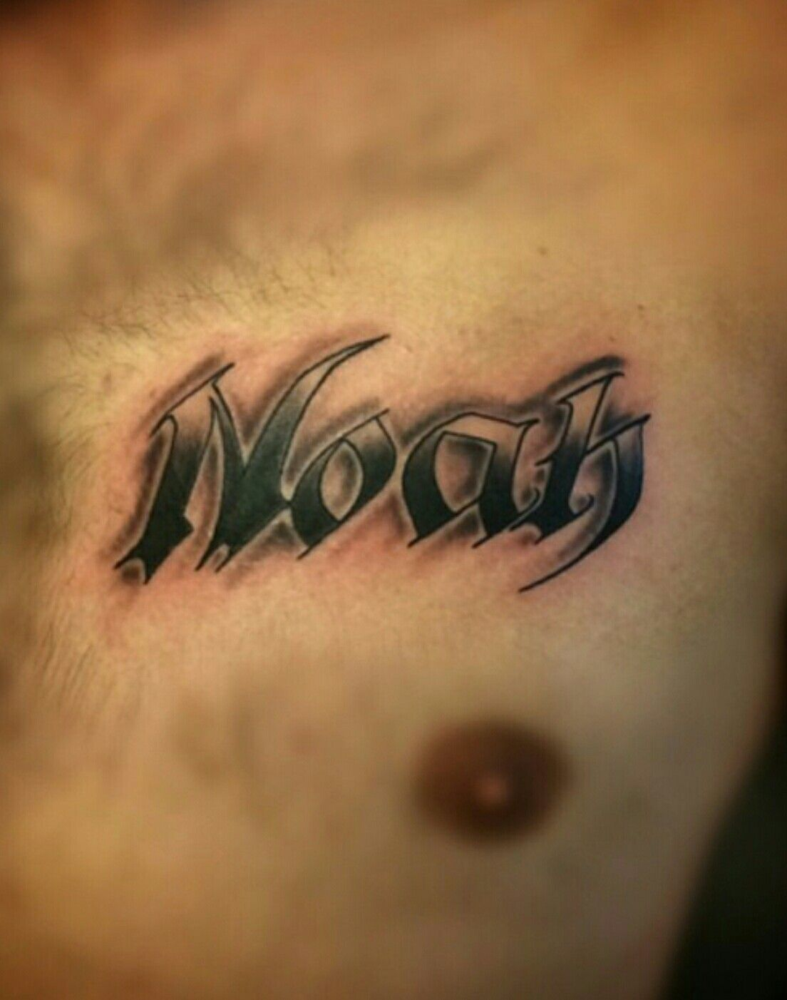 Noah Name Tattoo On Chest Tattoo By Josh Montiel At Ideas And Designs