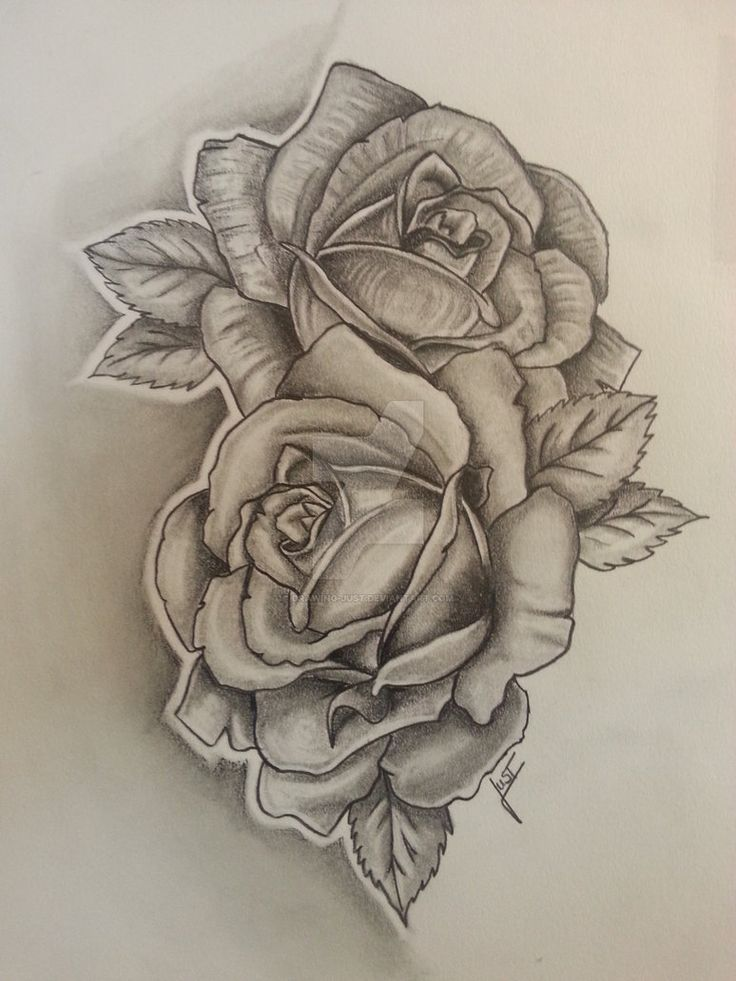 2 Roses Tattoodesign By Drawing Just Flower Art Ideas And Designs