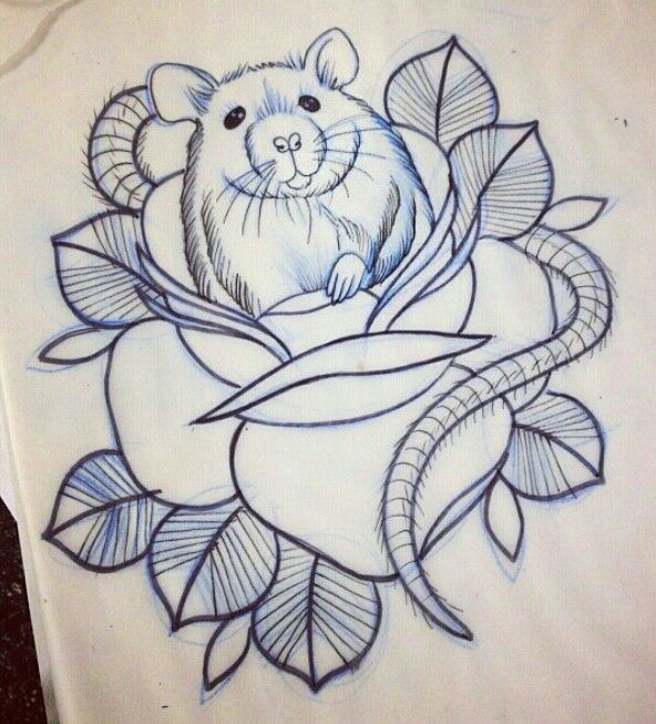 Old Style Rat In Rose Tattoo Tattoo Inspiration Ideas And Designs