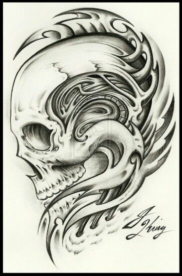 Biomechanical Skull Tattoos Biomechanical Tattoo Ideas And Designs