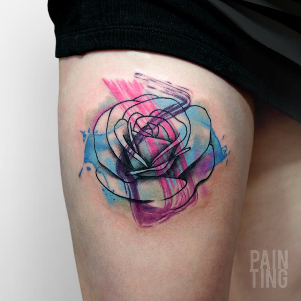 Abstract Watercolor Rose Tattoo Pain Ting Tattoo Ideas And Designs