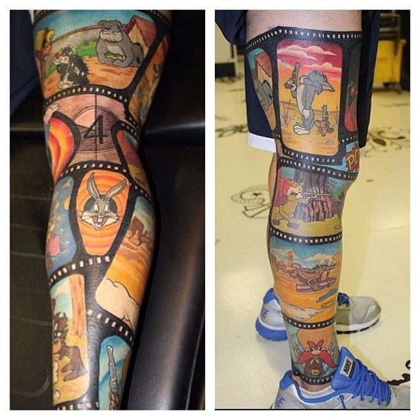 Really Awesome L**N*Y Toons Cartoon Leg Sleeve Tattoo Ideas And Designs