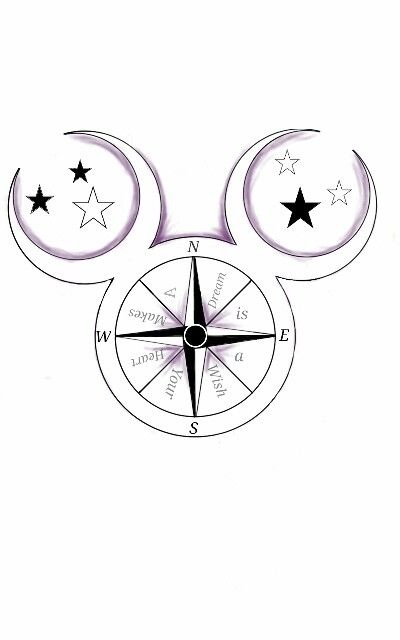 Walt Disney Mickey Mouse Compass Tattoo Dusted In Purple Ideas And Designs
