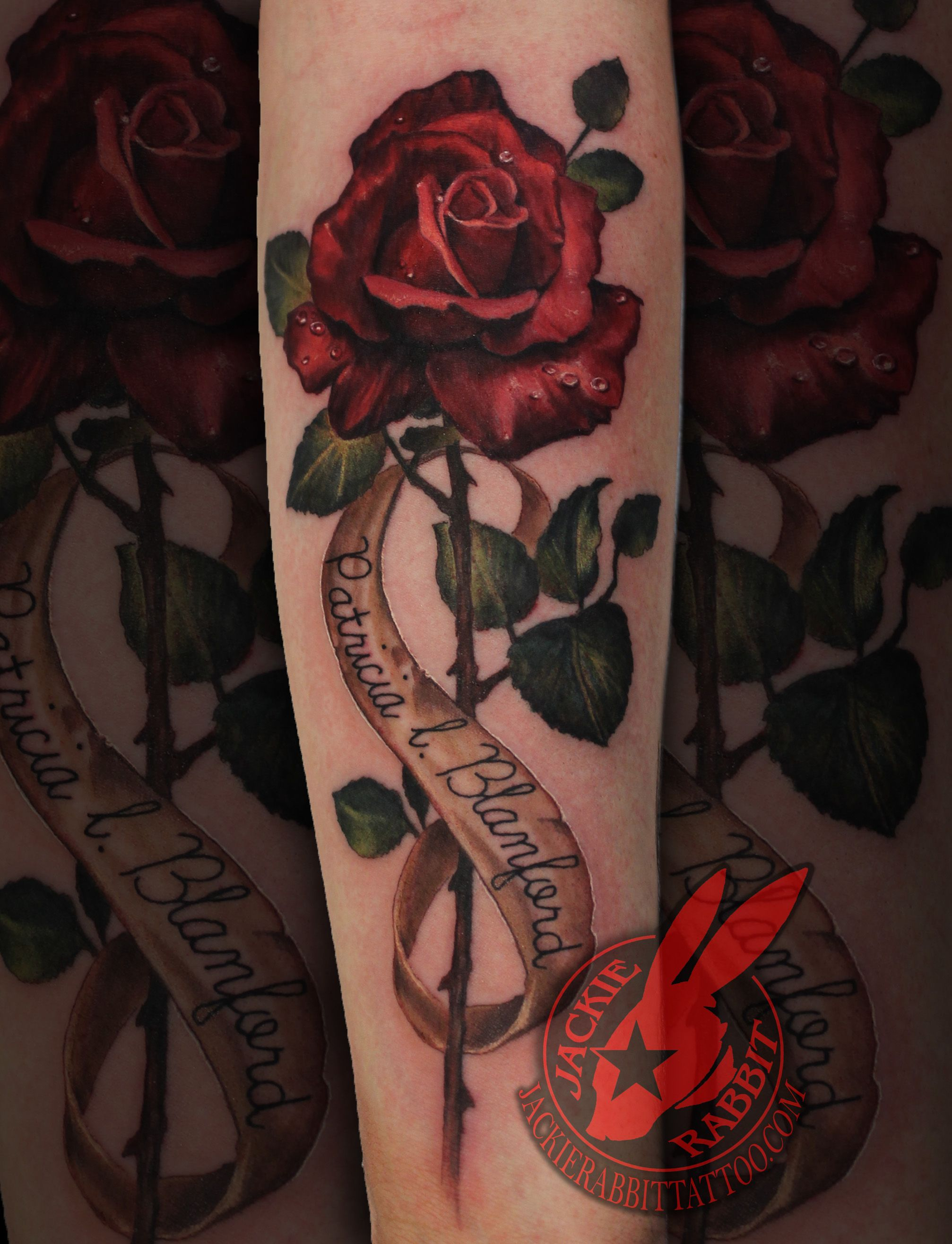 Vintage Realistic Red Rose 3D Name Color Banner Lettering Ideas And Designs