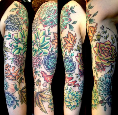 Three Quarter Sleeve Of Succulents And Autumn Leaves On Ideas And Designs
