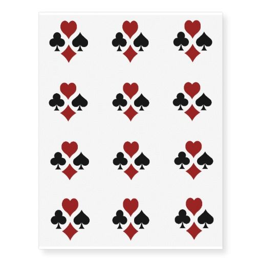 Card Suit Symbols Temporary Tattoos Tattoos Card Ideas And Designs