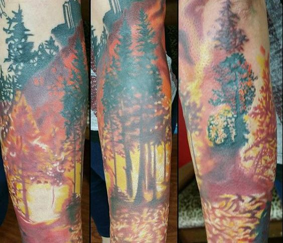 Tree Forest Fire Mens Sleeve Tattoos Forest Fire Tattoo Ideas And Designs