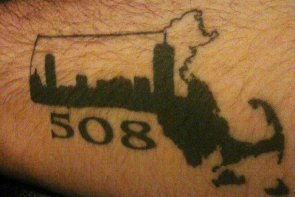 Mass State And Area Code Tattoo With Boston Skyline Ideas And Designs