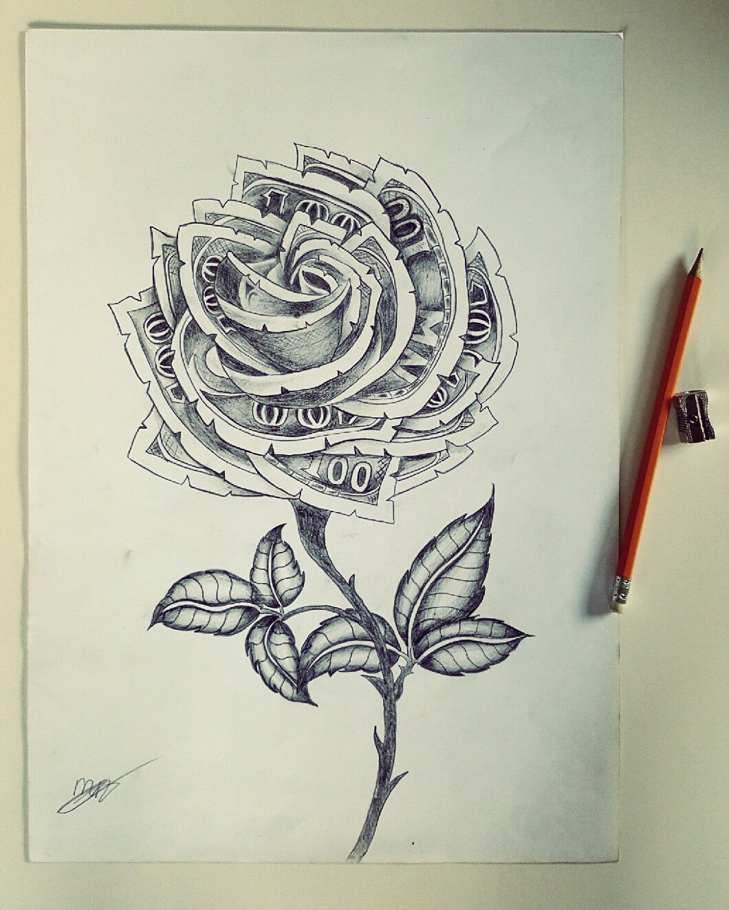 100 Dollar Rose Drawing My Self Made Art In 2019 Ideas And Designs