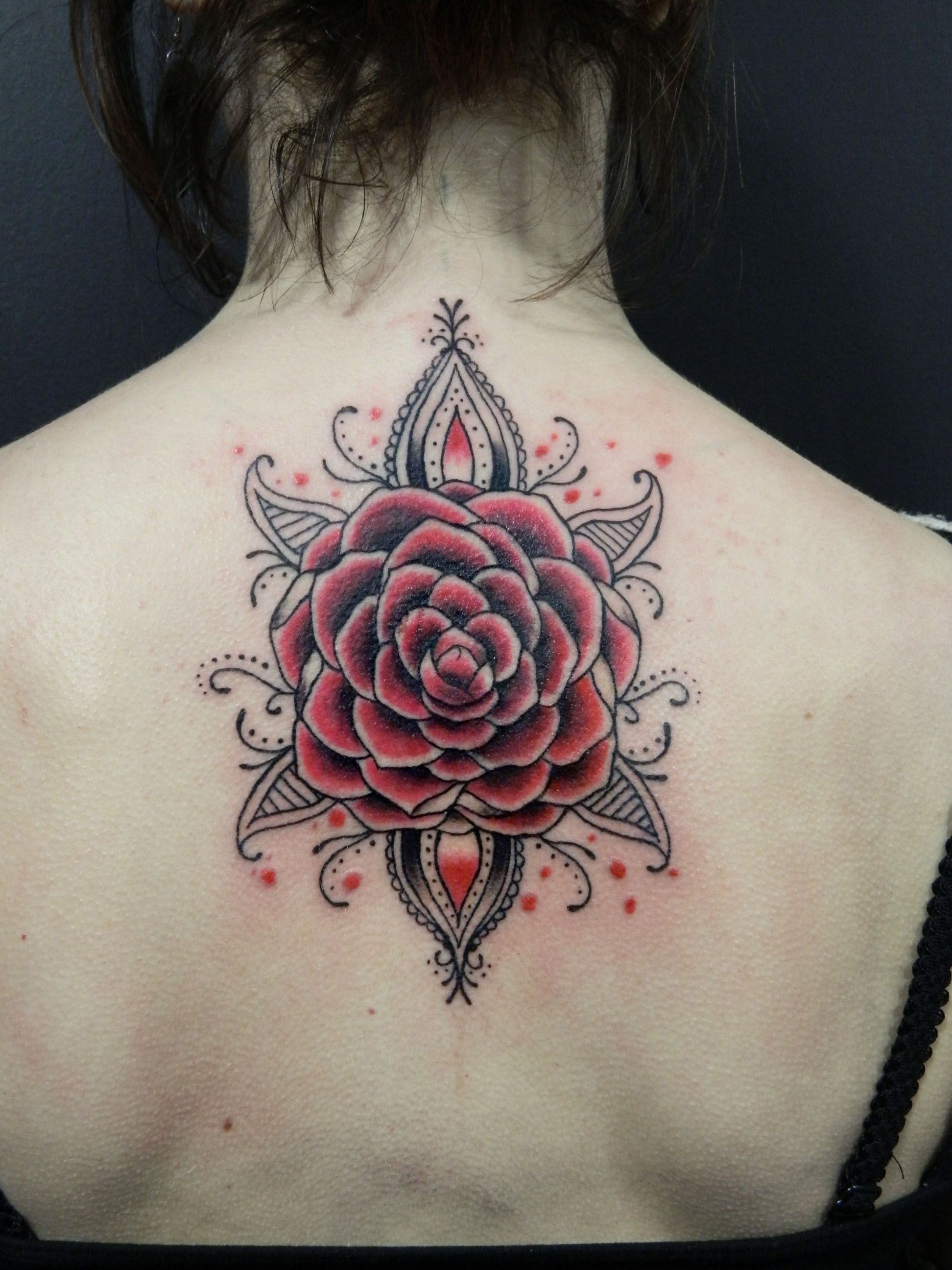 Camellia Flower Tattoo Black Grey Red By Elisa Ideas And Designs