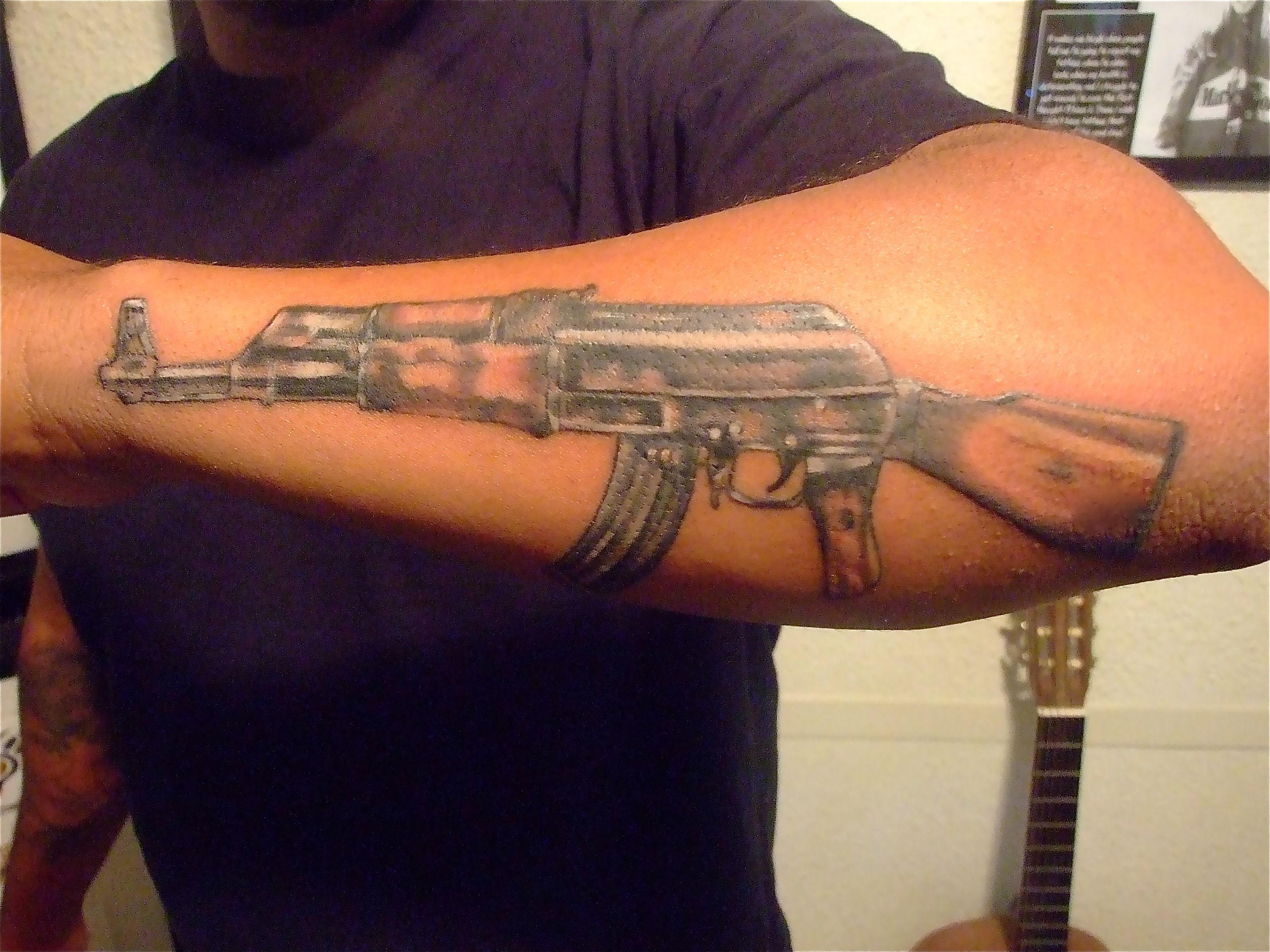 Ak47 Tattoo Forearm Darkside Tattoo Tattoos Ak47 Ideas And Designs